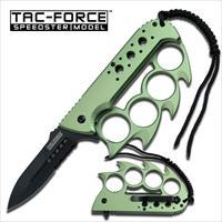 TAC-FORCE TF-793GN GREEN SPIKE KNUCKLE SPRING ASSISTED KNIFE