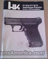 Rare German Version Heckler & Koch P7 HK P7M8 HK P7M13 Manual  - Written In German