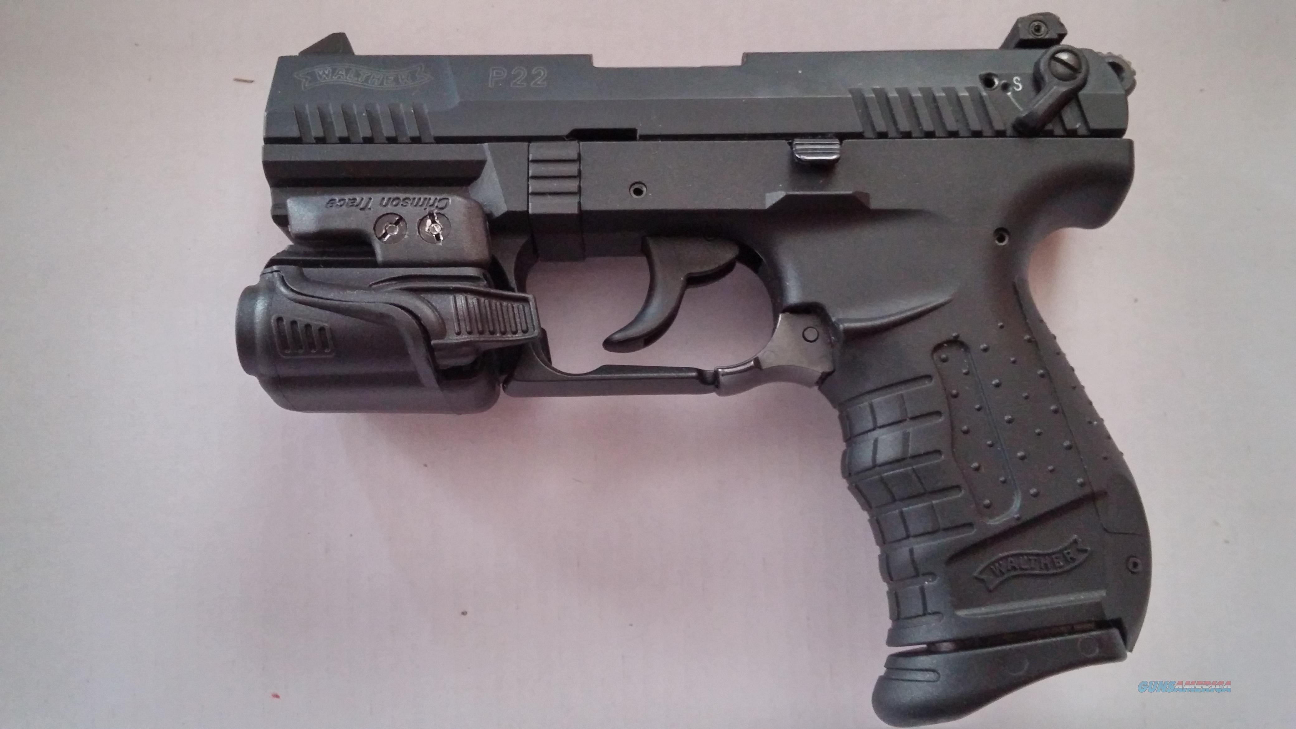 WALTHER P22 WITH CRIMSON TRACE TACTICAL LIGHT AND 2 GACTORY MAGS