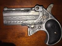 Engraved Davis Derringer .38 Unique Sugar Skull & Crossbones - Pushing Up Daisies