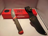 ONTARIO KNIFE COMPANY OKC KEUKA HUNTER W/BLACK LEATHER SHEATH, 125TH ANNIVERSARY EDITION.