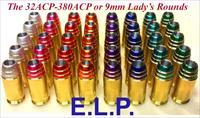 Ten 9mm w/ELP MHPF Lady's Round Projectiles