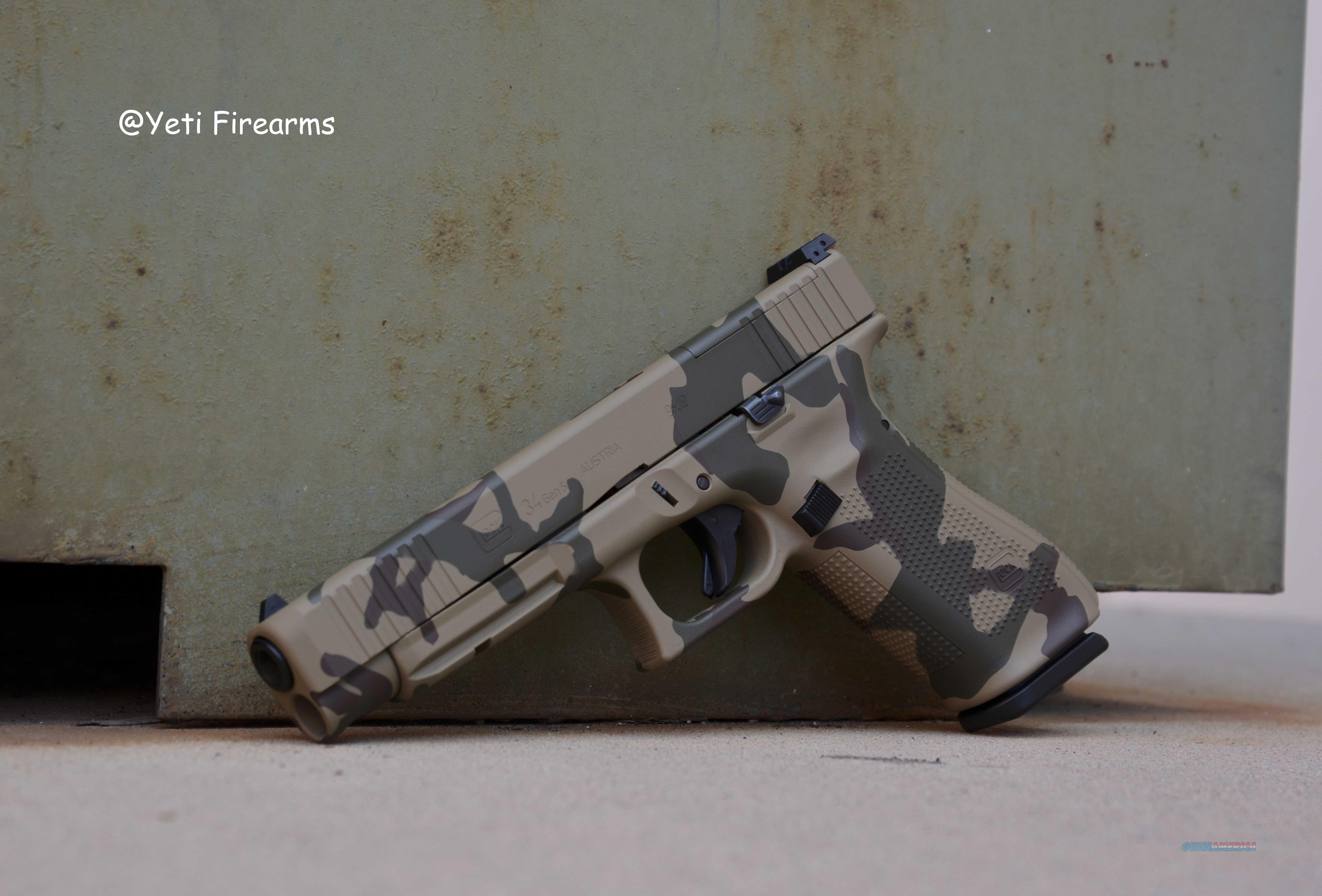 Glock 34 Gen 5 MOS 9mm Yeti Desert Camo Cerakote