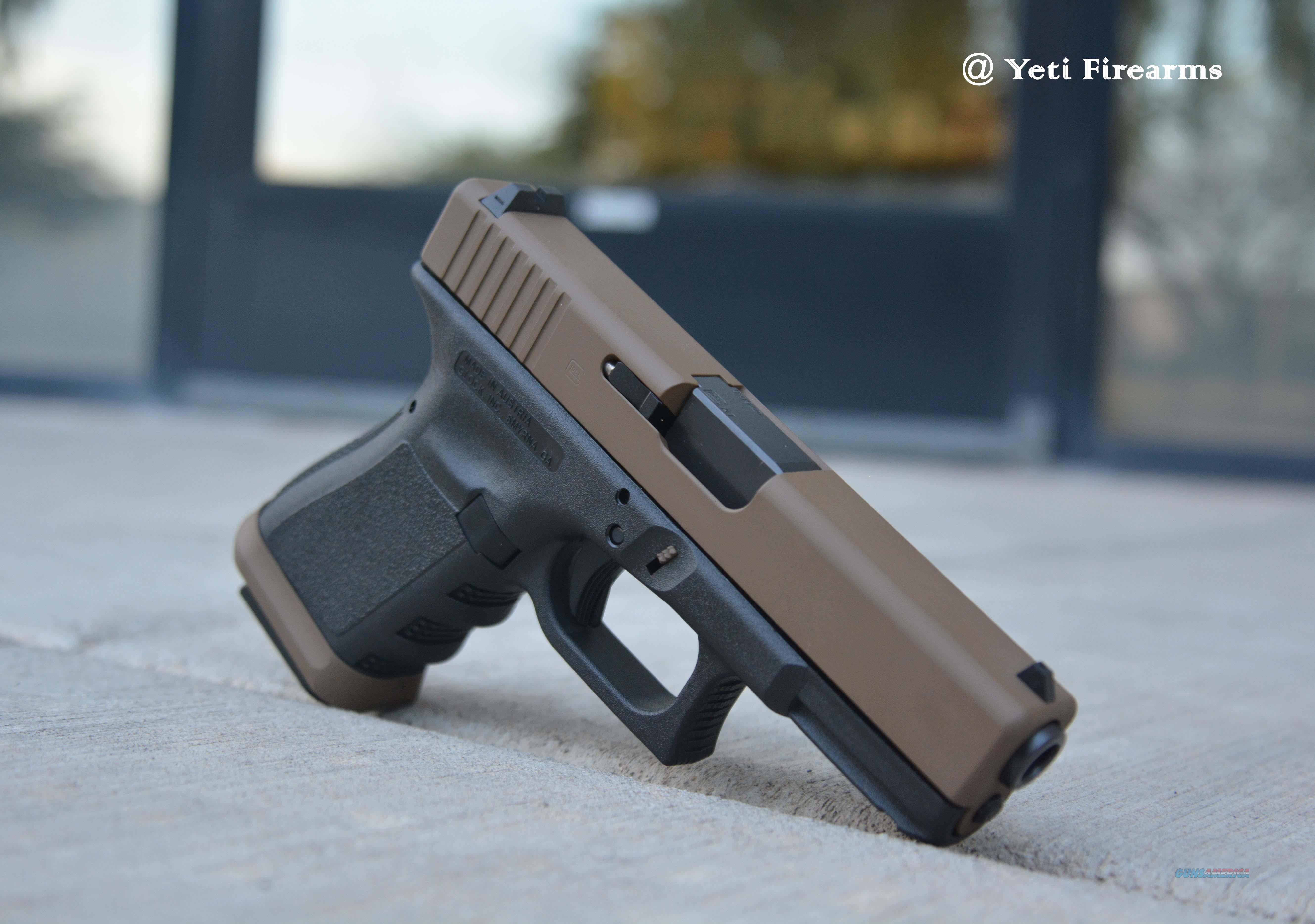 X-Werks Custom Glock 19 G3 9mm Glock FDE Cerakote Agency Arms Magwell Zev  Extended Mag Release