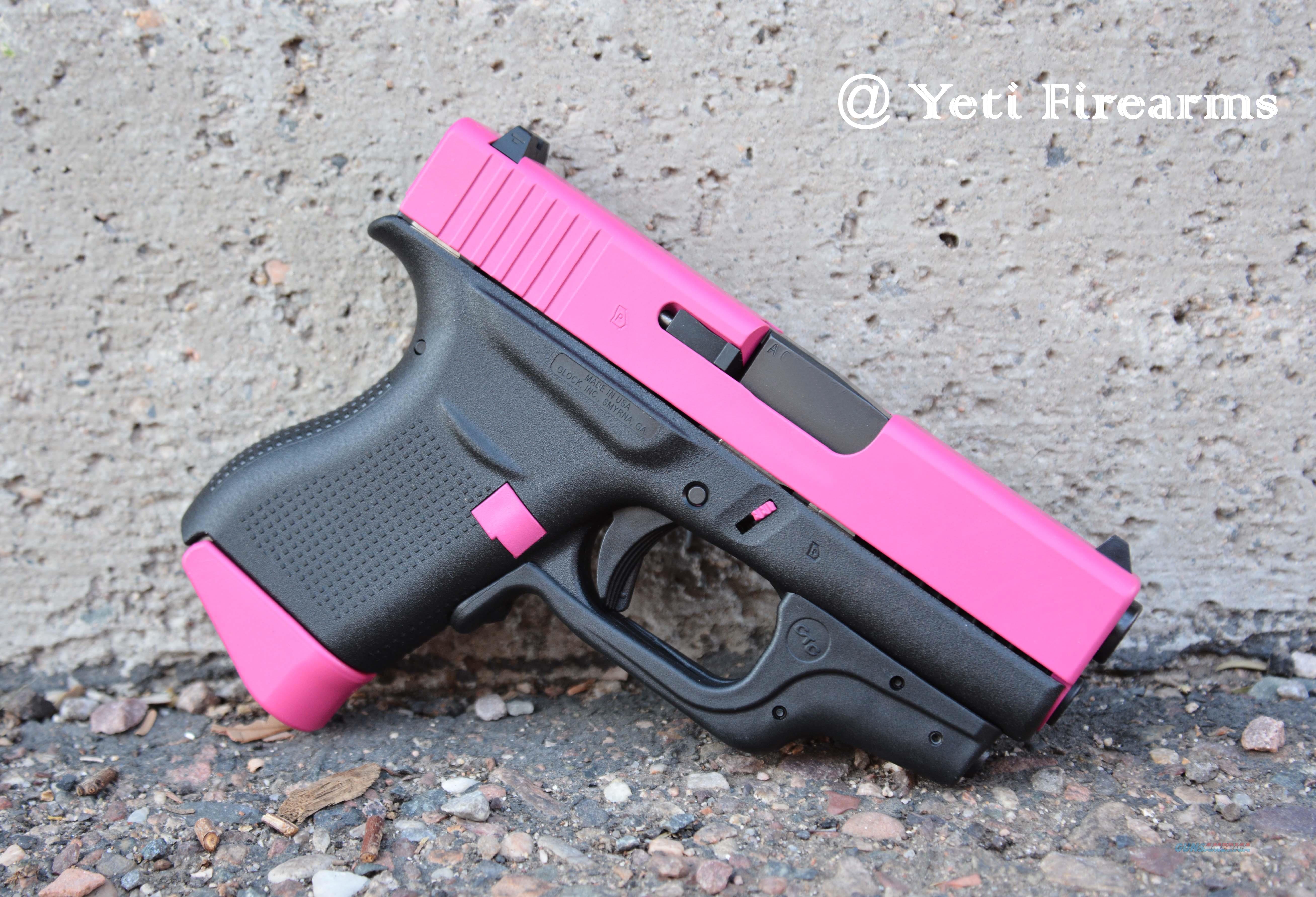 Glock 43 9mm Raspberry Pink W/ Crimson Trace Laser