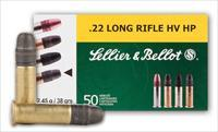 Sellier & Bellot Rimfire Ammunition SB22B 22 Long Rifle 22LR 22 ammo Hollow Point HP 38 GR 500 rounds of SB22B
