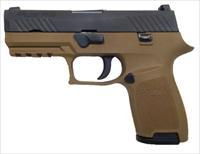 Sig Sauer P320 Carry 9mm FDE With Rail Comes with 2 15rd Magazines and Holster Contrast Sights 320C-9-T-FDE