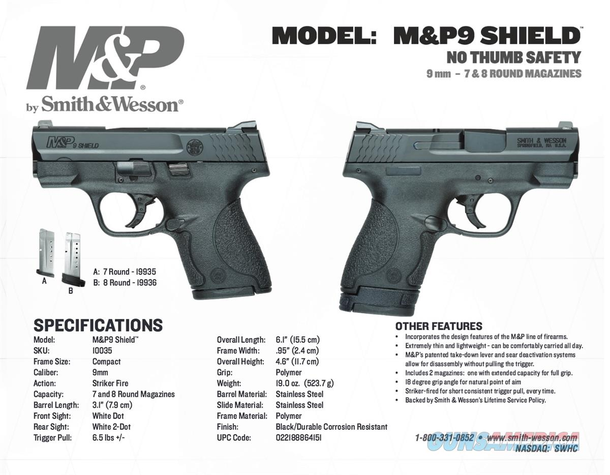 Smith & Wesson S&W M&P Shield 9mm No Safety 100... for sale