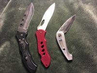 3 Assorted length folding blade knives stainless steel...