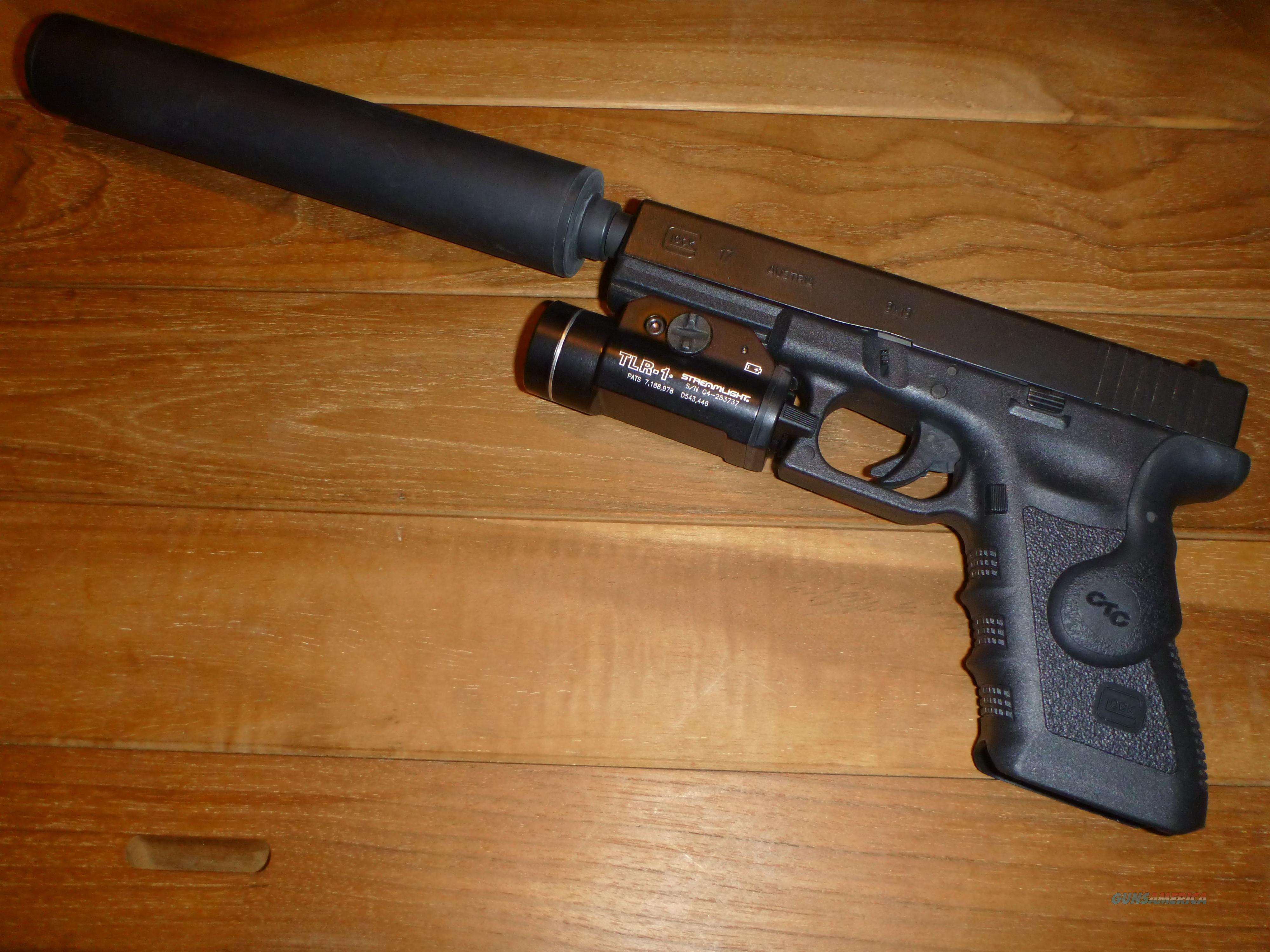 Glock 9mm Package (w/ Silencer, Light, & Laser)... for sale