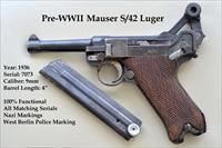 1936 Pre-WWII Mauser Luger Nazi S/42 9mm [No Reserve]