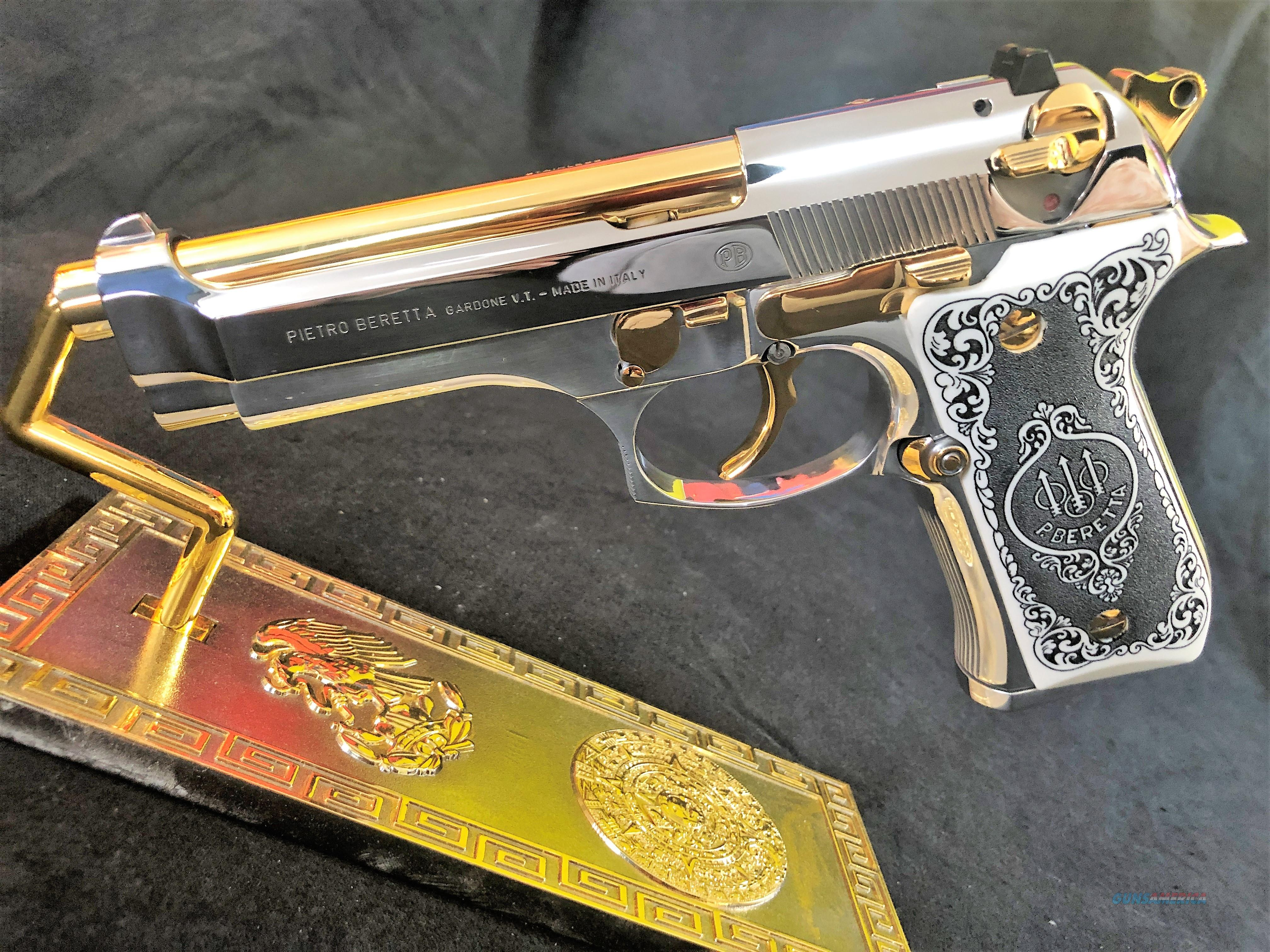 GORGEOUS Beretta 92 Custom 24k gold and bright stainless scrimshaw grips