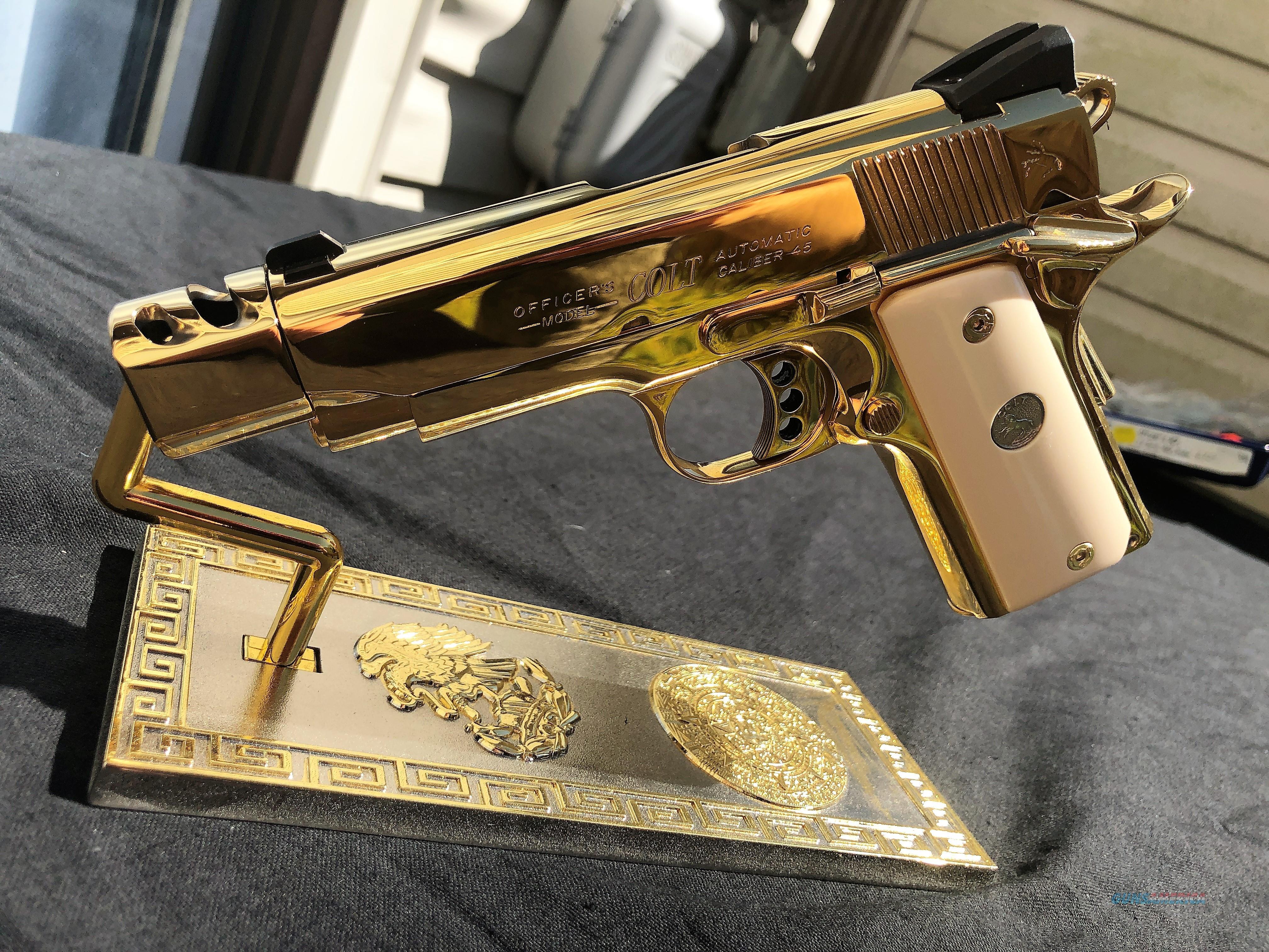 24k Gold Colt Officers MKIV custom compensator  45 1911 bonded ivory grips  UNIQUE beautiful gun FACTORY BOX