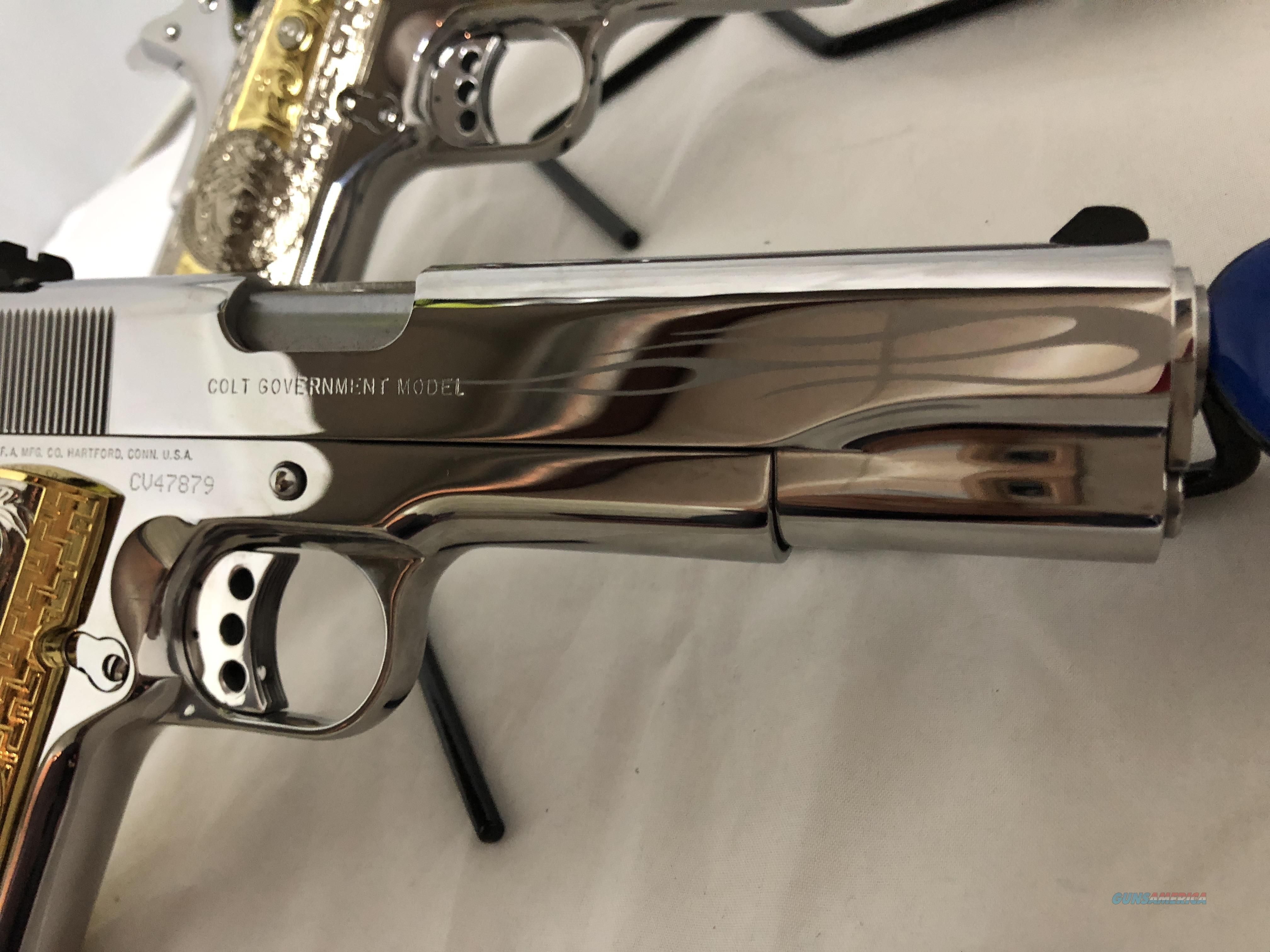 Custom Colt 1911 Set Consecutive Serial Number Ghost Flames Display Case  Boxes