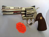 "GORGEOUS Colt Python 4"" factory Nickel MINT with box .357 magnum snake gun"