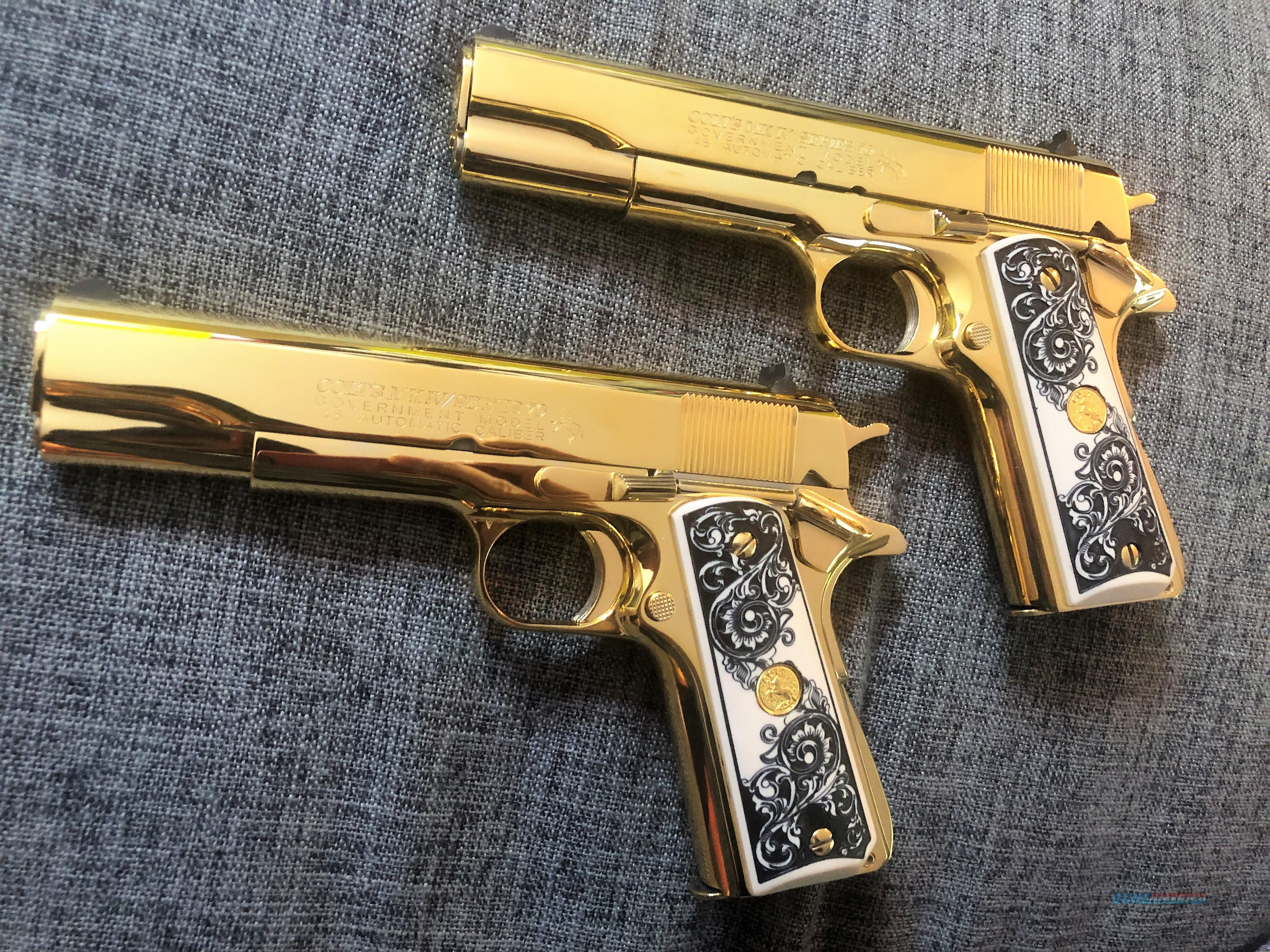 24k Gold Plated Colt 1911 Series 70  45 acp Consecutive set Father Son