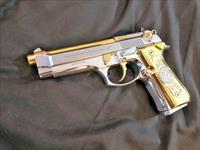 GORGEOUS Beretta 92 Custom 24k gold and bright stainless Versace grips