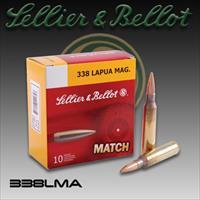 Sellier & Bellot Ammunition 338 Lapua Magnum 250 Grain Sierra MatchKing Hollow Point Boat Tail, Lot of 100