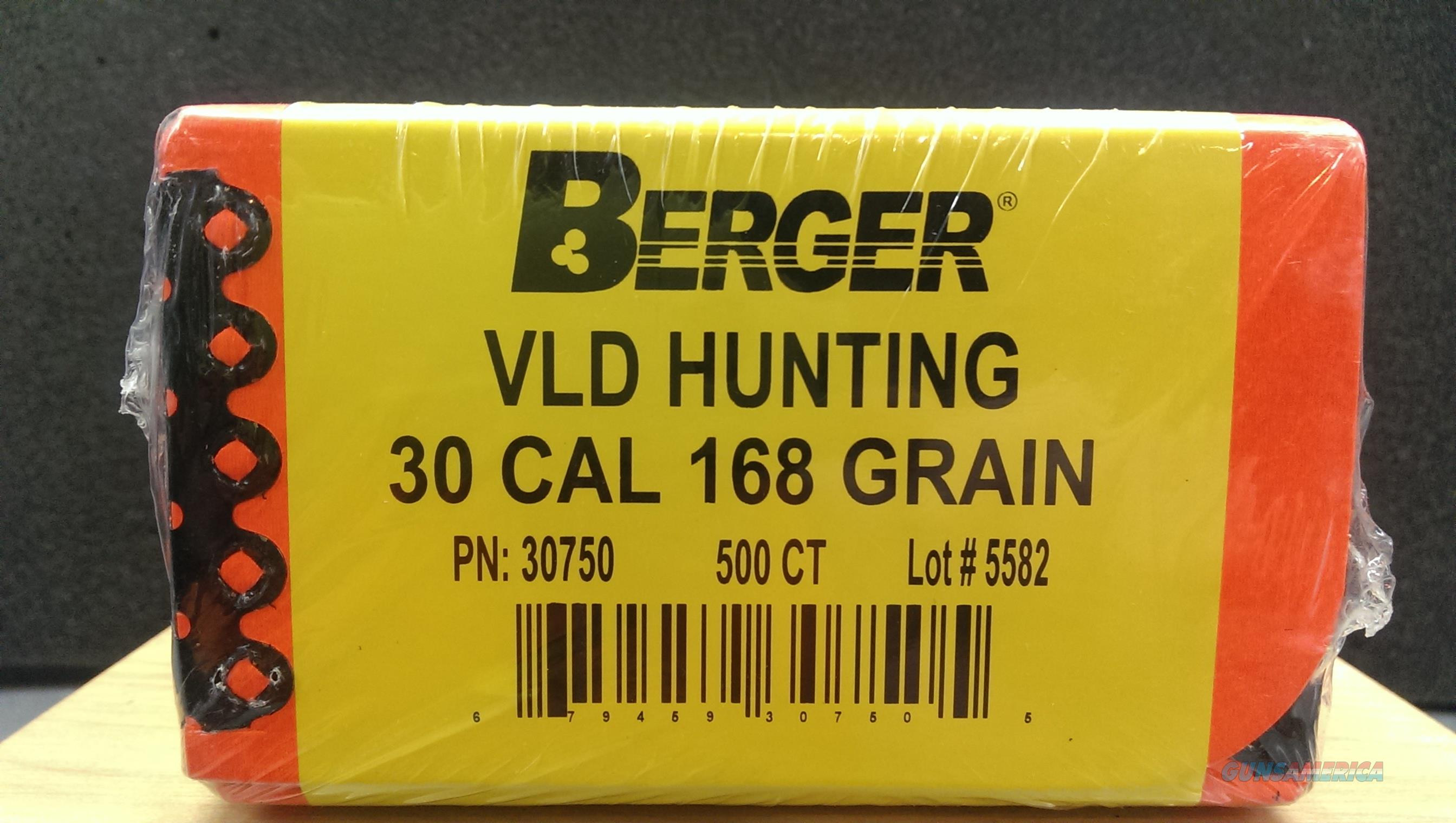 Berger VLD hunting bullets box of 500   308/168grain
