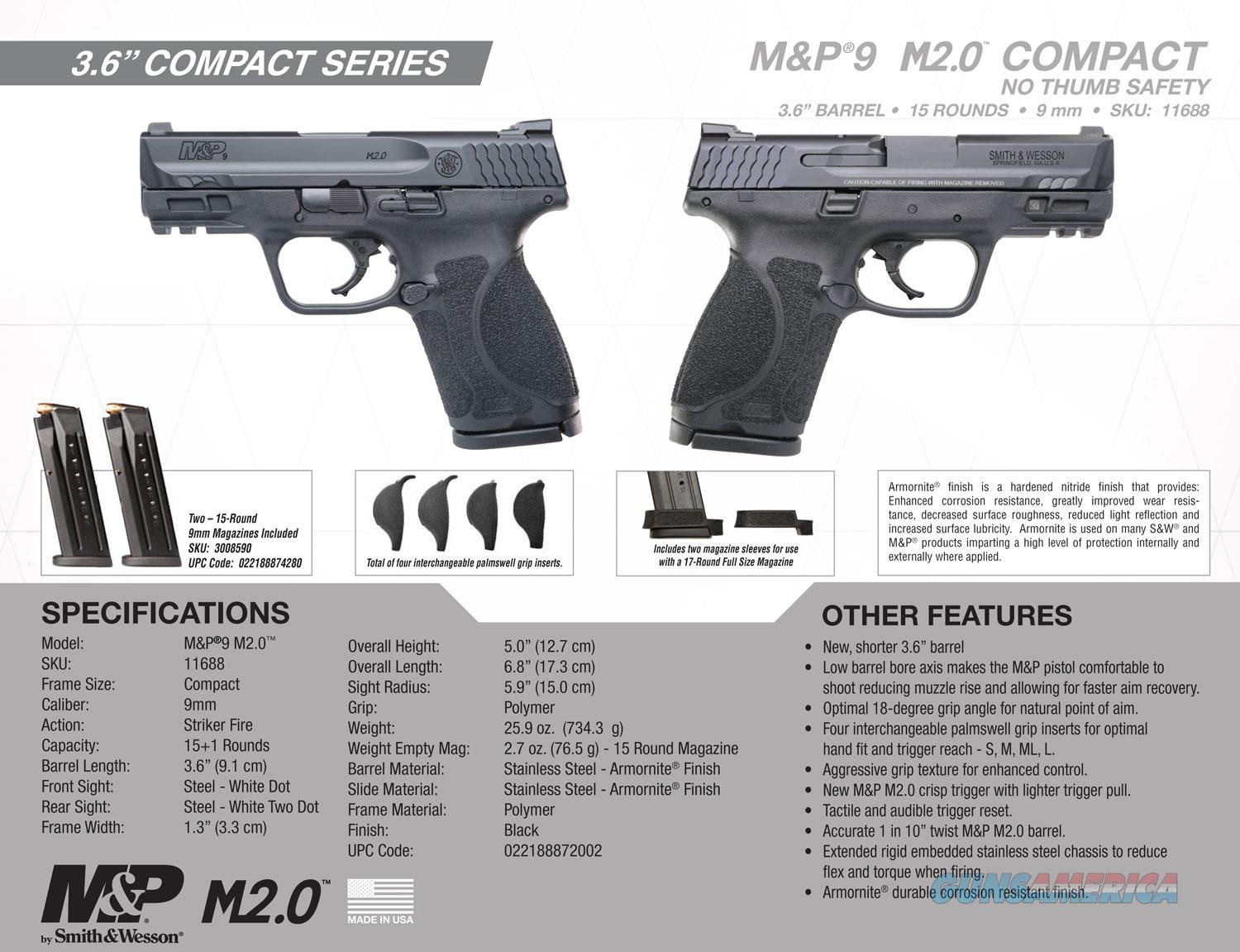 """S&W M&P9 M2.0 Compact 9mm 3.6"""" 15+1 $50 Rebate ... For Sale"""