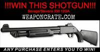 "WEAPONCRATE.COM ""TREAT"" YOURSELF THIS HALLOWEEN!  WIN A SAVAGE SHOTGUN!! NO MAX ORDER!!!  DRAWING IS HALLOWEEN DAY!  SEE RULES UNDER DETAILS @  WEAPONCRATE.COM"