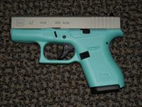 "GLOCK .380 ACP MODEL 42 PISTOL IN ""ROBIN EGG BLUE"""