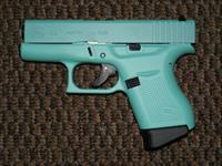Glock 9 MM MODEL 43  FINISHED IN ROBIN EGG BLUE