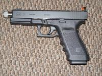 GLOCK MODEL 21SF CUSTOMIZED WITH THREADEDBARREL AND SNAKE-EYES NIGHT SIGHTS SIGHTS