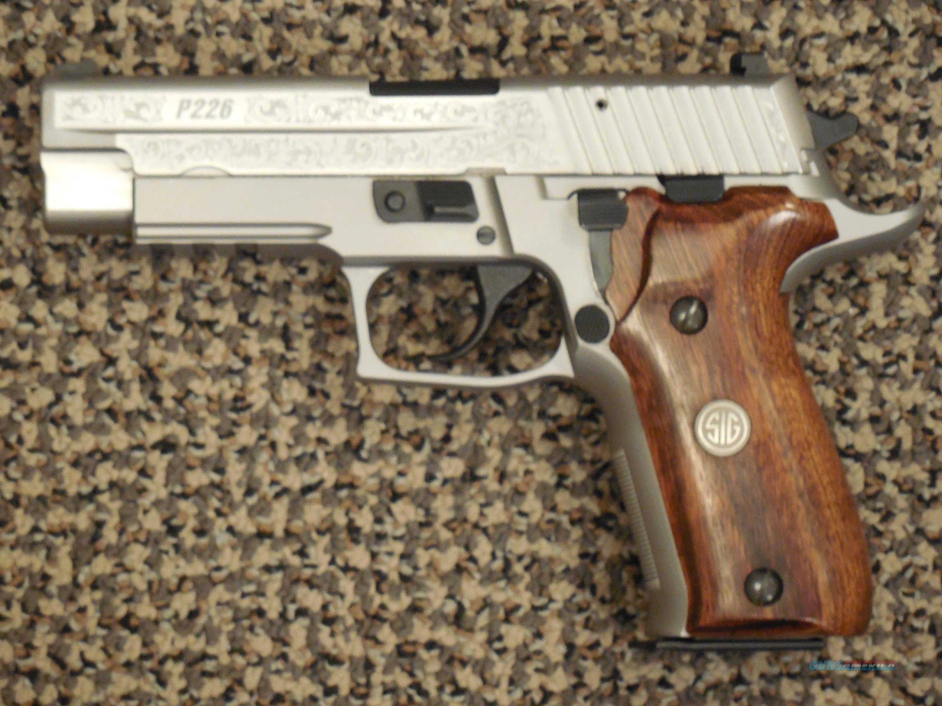 SIG SAUER P-226 STAINLESS ENGRAVED 9 MM WITH CUSTOM GRIPS