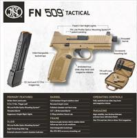 FN 509® Tactical   Threaded Barrel, Night Sights - Optics Ready - Two 24 round magazines