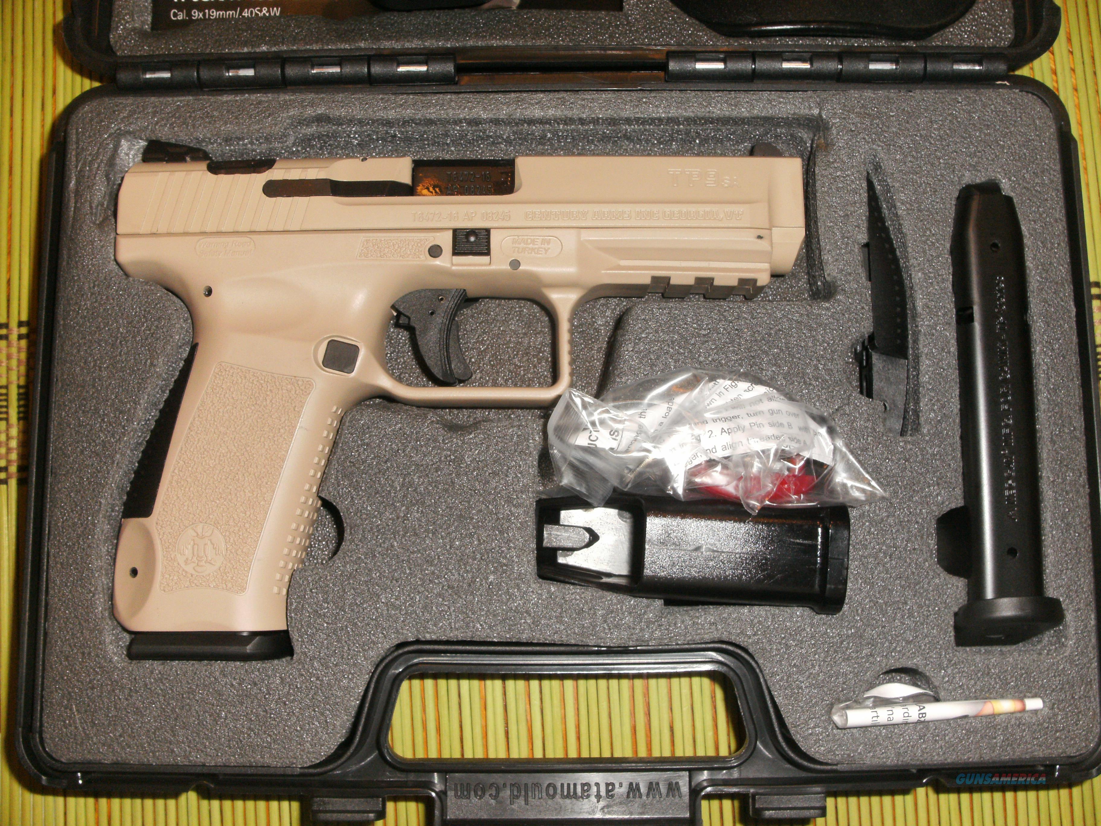 CENTURY ARMS - CANIK TP9SA - DESERT TAN - 2 18 RD MAGS, HOLSTER, CASE -  FAST SHIPPING