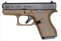 "GLOCK G42 FLAT DARK EARTH 380 ACP 6+1 3.25"" FS"