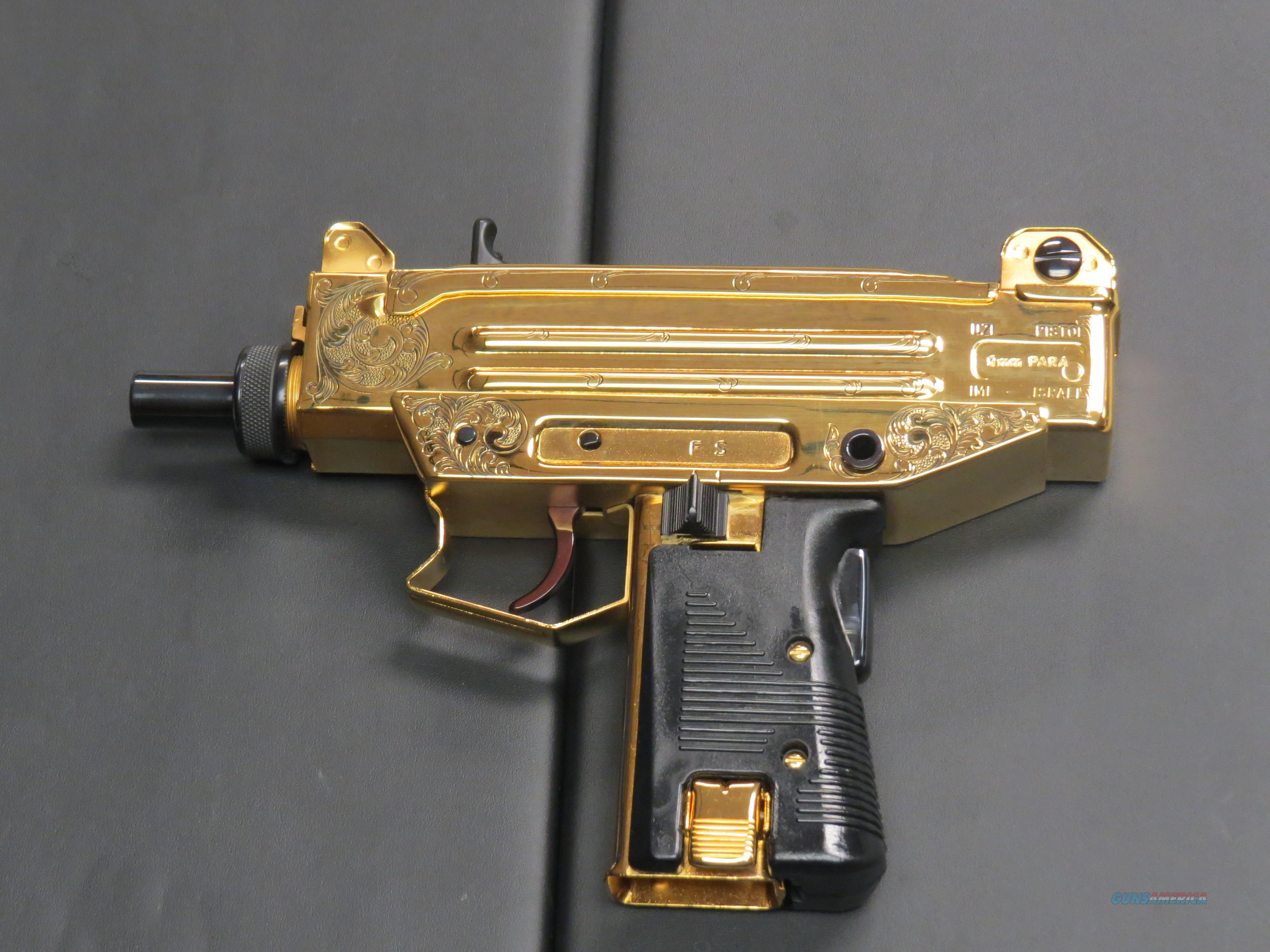 RARE IMI 9MM/ 41AE UZI PISTOL 24K GOLD PLATED AND HAND ENGRAVED 1 0F 100  EVER MADE! WOW!