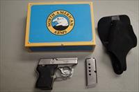 NORTH AMERICA ARMS STAINLESS STEEL GAURDIAN .32 ACP WITH FACTORY BOX HOLSTER AND PAPERS