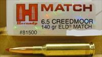 20 boxes of Hornady Match Ammunition 6.5 Creedmoor 140 Grain A-Max Boat Tail