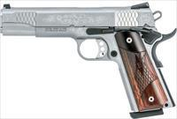 "Smith & Wesson 1911 .45ACP 8rd 5"" Barrel Factory Engraved Stainless Steel Wood Grips Full Size 10270 - New In Box"
