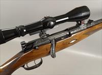 OUTSTANDING ENGRAVED & CARVED Mannlicher Schoenauer Mod 1952 Rifle in 270 with Claw Mount Scope
