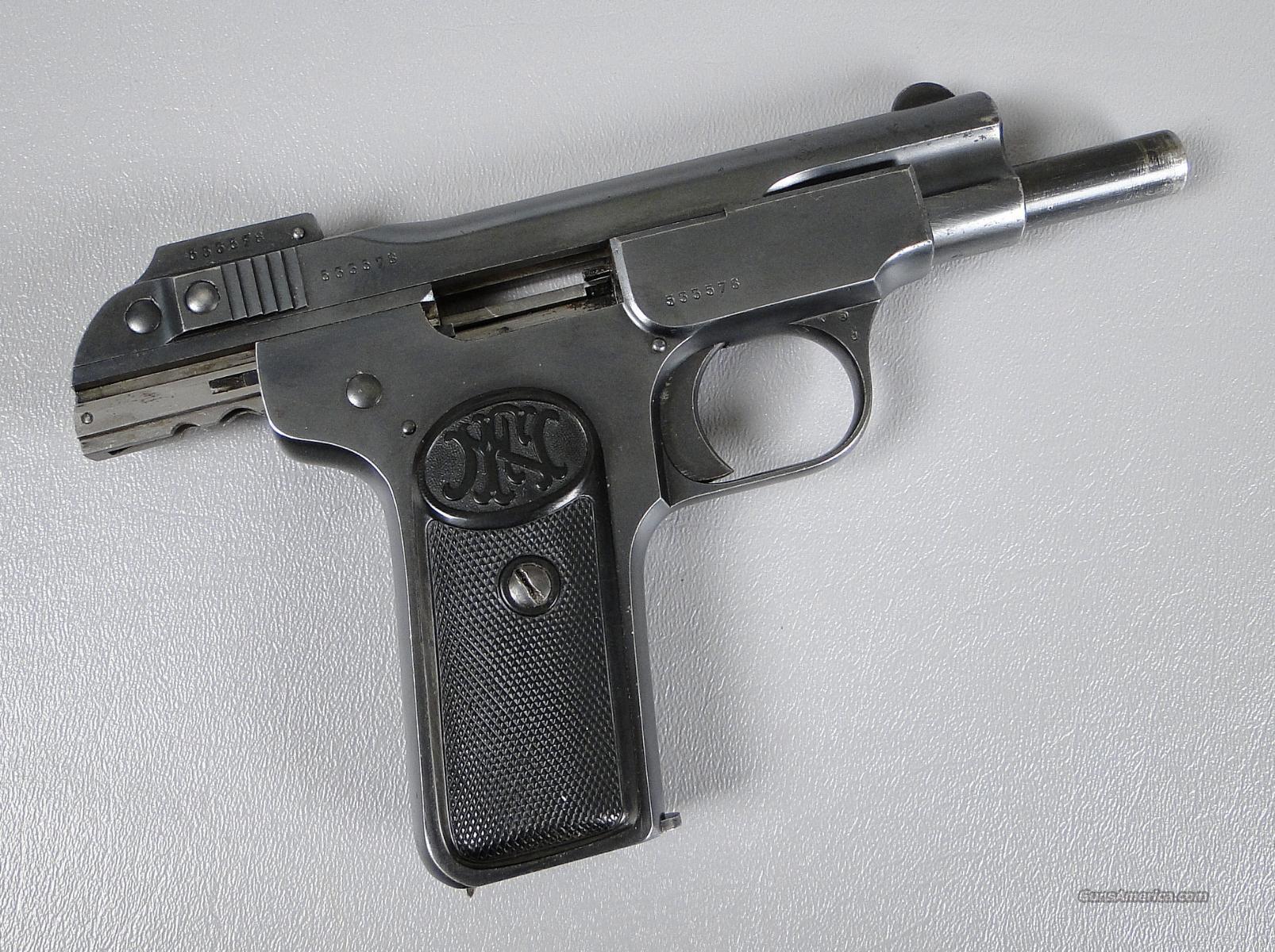 FN Model 1900 semi-auto pistol, 7.65mm cal., 4 barrel