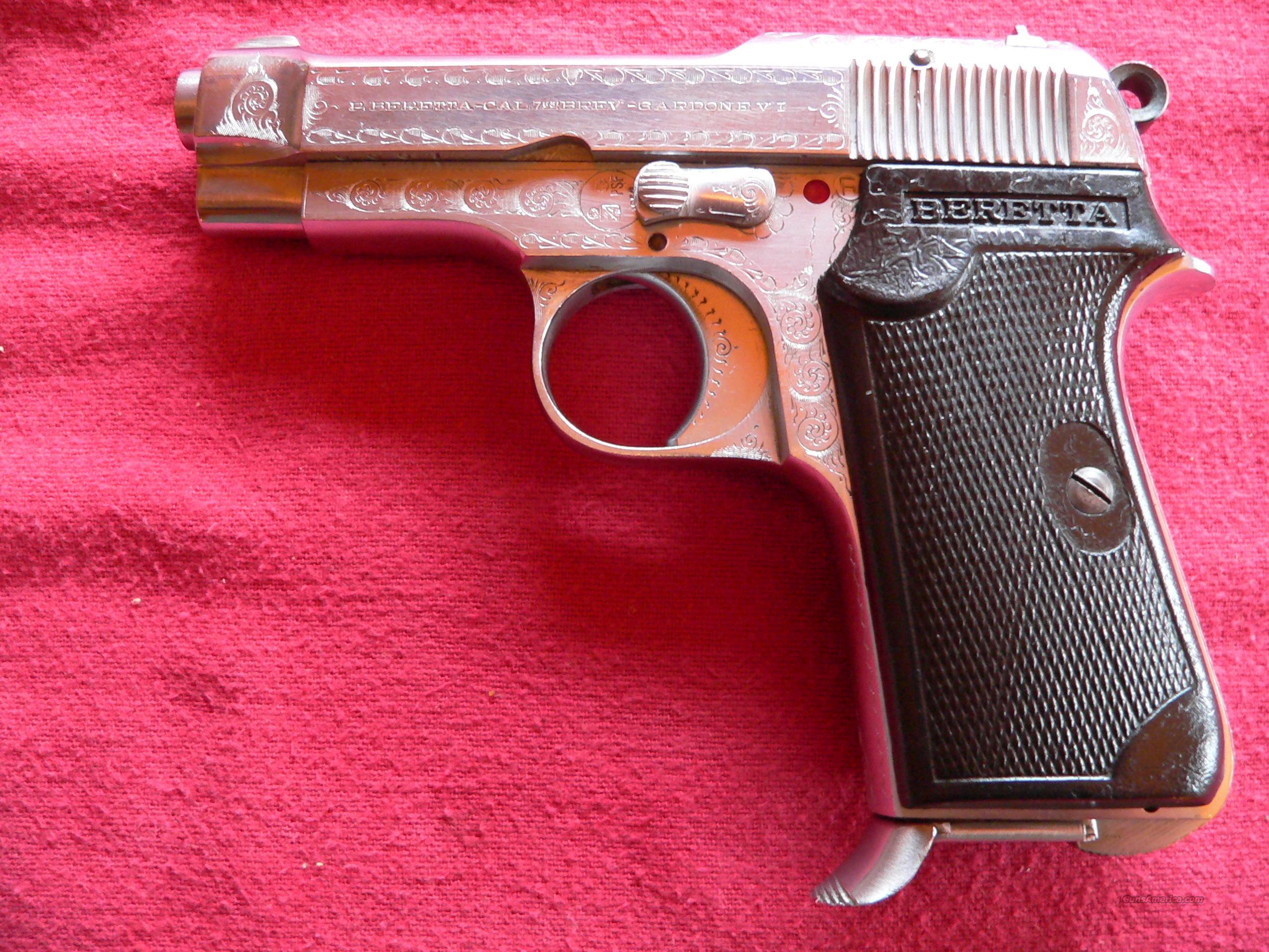 Engraved Beretta Model 1934 cal  7 65 ACP Semi-automatic Pistol