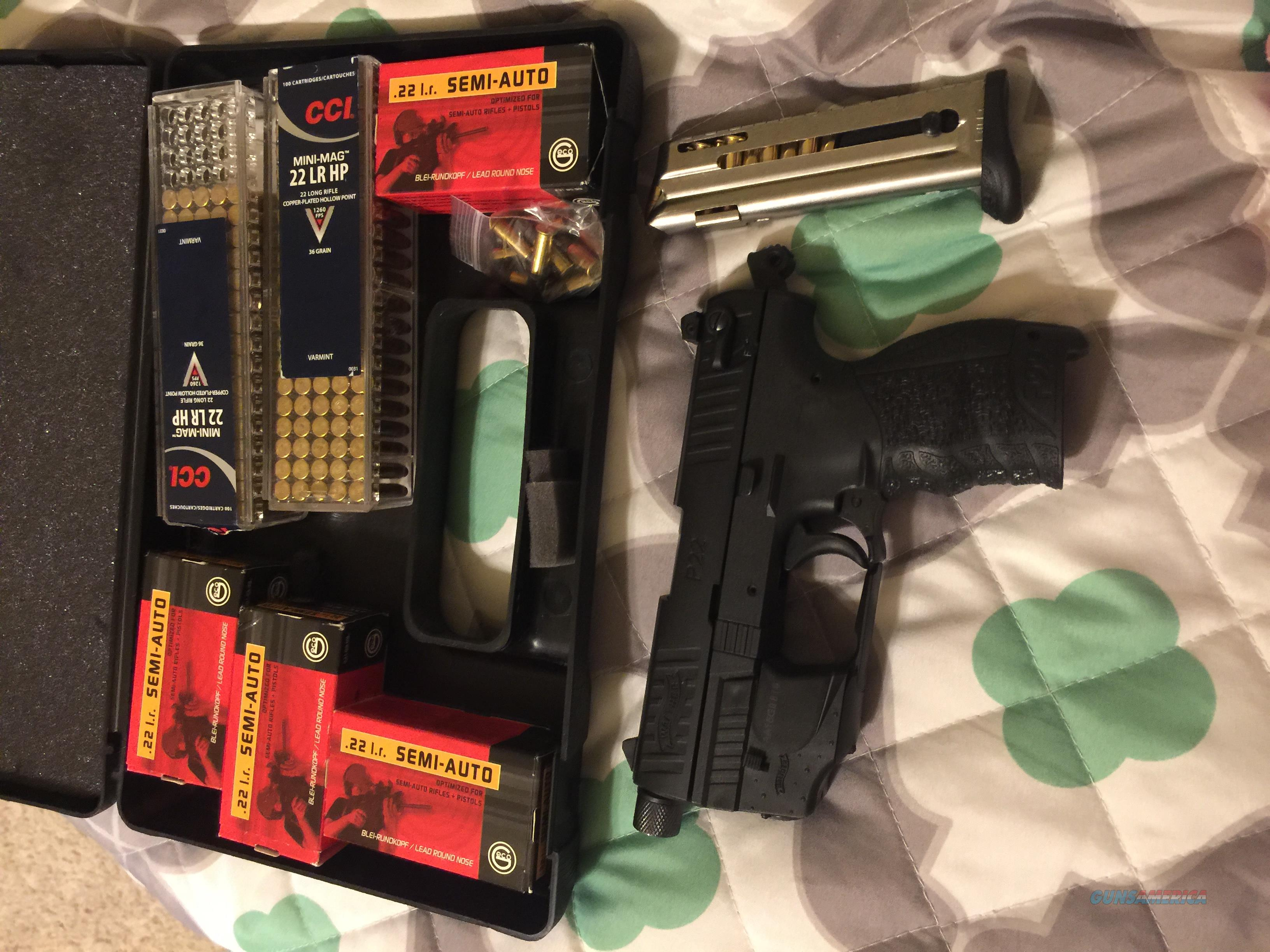 Walther P22 with case, laser sight, and 500 rounds ammo