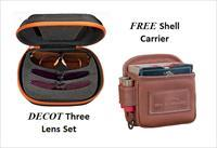 "Decot Hy-Wyd Shooting Glasses 3 Lens Set w/  ""FREE SHELL CARRIER"" Leather Hand Stiched"