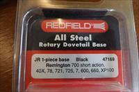 Redfield JR. Steel Rotary Dovetail Scope Mount Base Short Action Rem. 700, 721, 725,40X,78,7,600,660,XP100