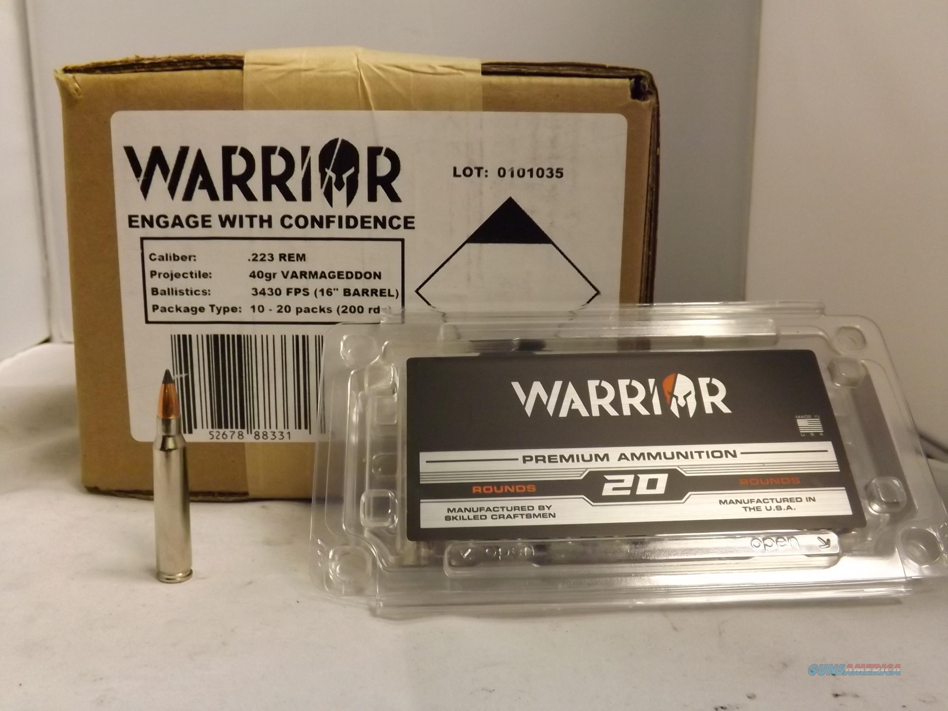 WARRIOR FACTORY NEW 223 REM - 40 GRAIN - NOSLER VARMAGEDDON - CASE OF 200 -  NICKEL PLATED BRASS / BLACK PERFORMANCE COATED BULLET