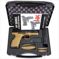 HK VP9 9mm Pistol in FDE Luminescent Three Dot Sights