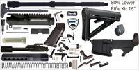 "AR15 Complete 16"" Rifle Build Kit - 80% Lower - 5.56 Nato"