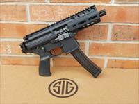 "SIG SAUER PMPX MPX K PCB AR15 AR 15 9MM PISTOL PMPX-4B-9 K Model with TIMNEY TRIGGER  4.5"" Barrel PISTOL SIG PCB FOLDING PISTOL BRACE, 1-30 Rd Mag. Threaded Barrel, New In Box"