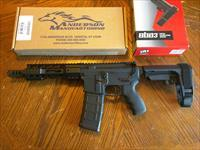 "Anderson AR15 AR 15 Pistol Custom 300 AAC 7.5"" Pistol Anderson Alum. Upper and Lower, SB Tactical A3 Pistol Brace, Custom Muzzle Brake, Free Floating Alum. Hand Guard (1) 30 Rd Mag, Pachmayr Grip, NIB"