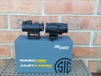 Sig Sauer SIG OPTICS AR15 AR 15 ROMEO Red Dot COMBO MSR/JULIET 3X MICRO MAGNIFIER COMBO BLACK, Magnifier has cam to swing out of the way for Close Quarters and Swing back for Magnification for Long Range, New In Box