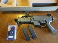 "CZ EVO 3 S1 Scorpion FDE 9mm Pistol NIB (2) 20 rd mags 7.75"" Barrel LIGHTWEIGHT Iron Sights, Flattop Rail for Optics"