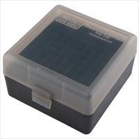 MTM 100rd Flip Top Rifle Ammo Box .17/.223 Clear Smoke